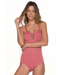 Pink one piece bathing suit with back criss-cross detail - CHIEF ROSE