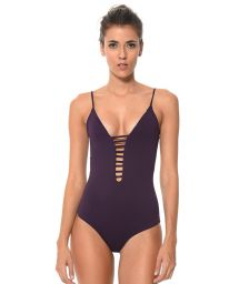 Purple one-piece swimsuit plunging neckline/strappy back - CLASSY WARY PURPLE