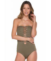 Khaki 1 piece bandeau style swimsuit with strappy neckline - GLAM ARMY