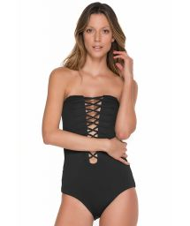 Black 1 piece bandeau style bathing suit with strappy neckline - GLAM ONYX