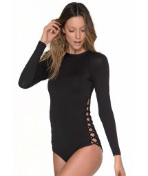 Black body suit with long sleeves and a back zipper - MERRY LONG SLEEVE