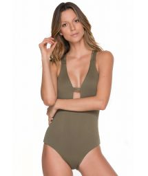 Khaki one-piece swimsuit with strappy macramé back - SANDCASTLE ARMY