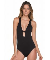 Black one-piece swimsuit with strappy macramé back detail - SANDCASTLE ONYX