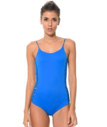 Blue one-piece swimming costume plaited sides- SHORE BOW BLUE