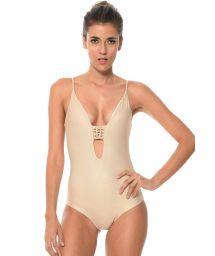 Gold-coloured one-piece swimsuit plunging neckline, macramé back - TRAMMEL SEA DORADO
