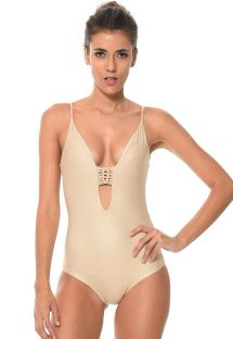 Gold-coloured one-piece swimsuit plunging neckline, macramé back - TRAMMEL SEA DORADO