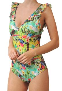 BBS X MAR DE ROSAS - tropical swimsuit with ruffles - ESENCIA TROPICAL