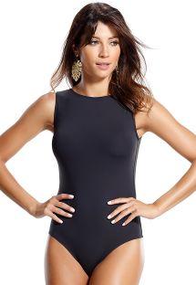 1 piece black bikini, interlaced back straps - CRAB PRETO