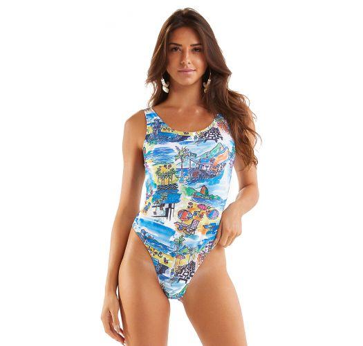One-piece swimsuit with Rio de Janeiro print - MAIO AQUARELA RIO