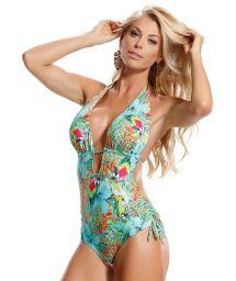 Plunge line Brazilian trikini, tropical print - MAIO RELVA