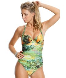 Green one-piece swimsuit, underwired with cups - MELOPEE