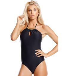 One piece black bikini, gold detailed hemmed collar - PEIXE VOADOR