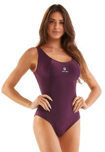 Plum colored sporty swimsuit with open back - SPORTY ROXO LISO