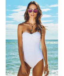 1-Piece white textured bustier swimsuit - ARRAIAL DO CABO