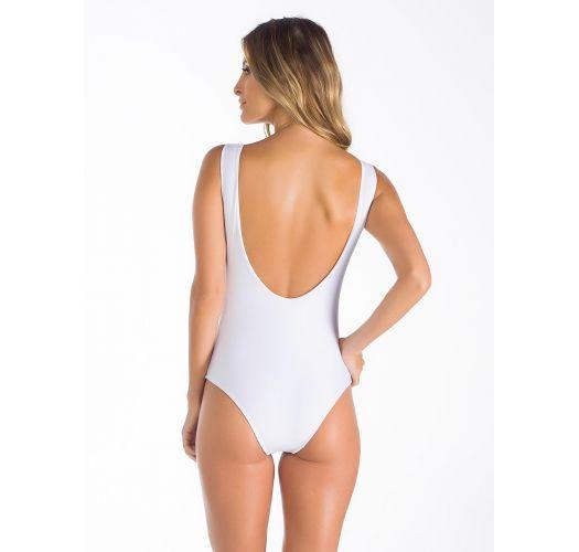 White multi-strapped one-piece swimsuit with low-cut neckline - ASAS DE ANJO