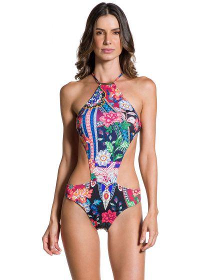 Brazilian monokini with colorful print - BELLA JARDIM ESCURO