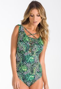 One-piece strappy tropical/geometric swimsuit - BODY ARARIPE