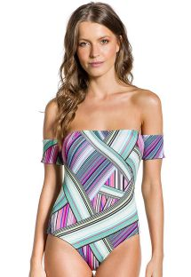 One-piece swimsuit with short sleeves in graphic print - BODY COLORIDO