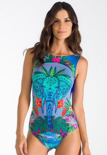 Gaily coloured one piece swimsuit with pattern of elephant heads - BODY ELEFANTE