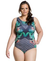 Plus size one-piece swimsuit in geometric and tropical print - BODY ELEGANCIA CINZENTA PLUS