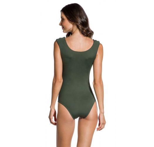 Geblümter Body-Badeanzug, khaki Rückenpartie - BODY FLOR DE KAKI