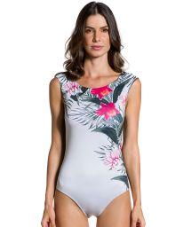 Body baddräkt med blommigt tryck och khaki-färgad baktill - BODY FLOR DE KAKI
