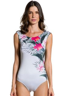Body swimsuit in floral print and khaki back - BODY FLOR DE KAKI