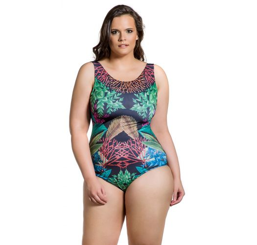 Plus size one-piece swimsuit in coral print - BODY FLORESTA PLUS