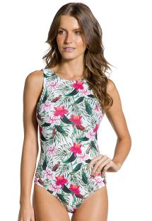Floral print high-neck body swimsuit - BODY FLORZINHOS