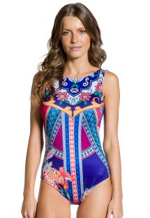 Particolored print high-neck one-piece swimsuit - BODY FOLCLORICA