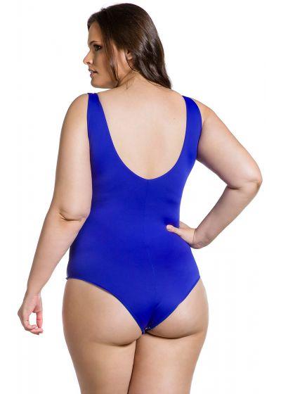 Colorful plus size Brazilian one-piece swimsuit cobalt back - BODY FOLCLÓRICA PLUS