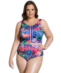 Farbenfroher einteiliger Badeanzug, Plus Size - BODY FOLCLÓRICA PLUS