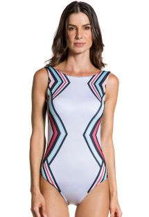 Geometric print one-piece swimsuit with khaki back - BODY GEOMETRICO