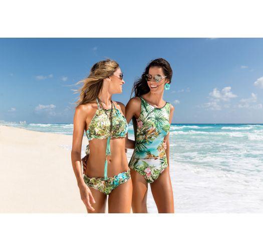 Badeanzug mit Tropenprint, khaki Rückenpartie - BODY ISLA BONTA