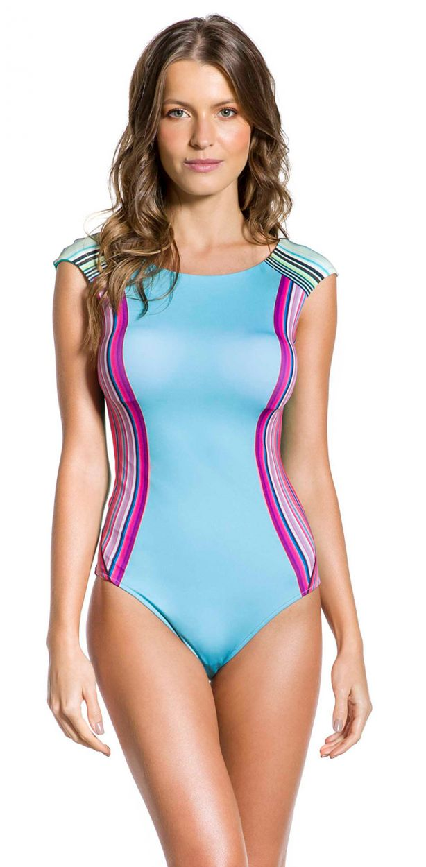 Blue and pink graphic one-piece swimsuit - BODY RIO COLORIDO