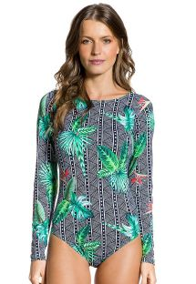 Geometric & tropical body swimsuit with long sleeves - BODY TROPICAL ELEGANCIA