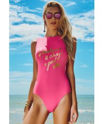 Pink 1-Piece Swimsuit with Text - BOTAFOGO