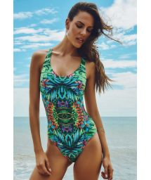 Tropical cross back 1-piece swimsuit - ITAGUAI