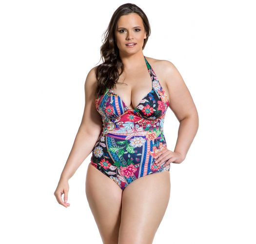 Plus-size one-piece swimsuit in geometric and floral print - MAIO JARDIM ESCURO PLUS