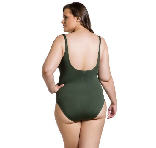 Plus size one-piece swimsuit in khaki - MAIO KAKI PLUS