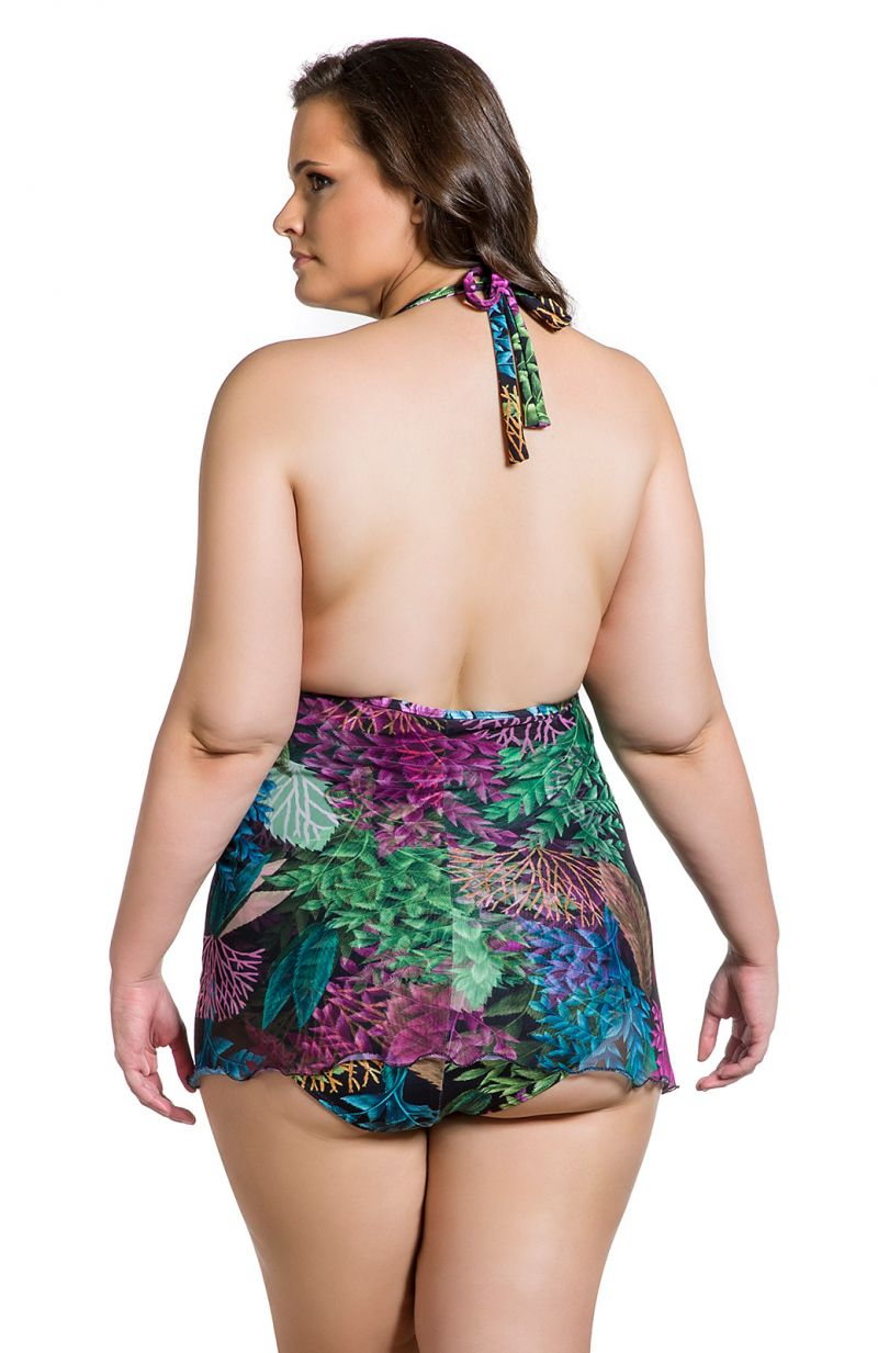 Plus size one-piece swimsuit with skirty bottom in coral print - MAIO PLANTAS PLUS