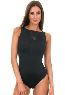 Black one-piece with hemstitch neckline - NOIR