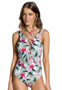 Floral one-piece swimsuit with laced neckline - PORTO FORMOSO