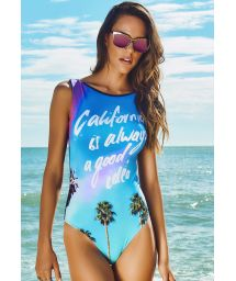 Tropical blue one-piece swimsuit with wording - PORTO SEGURO