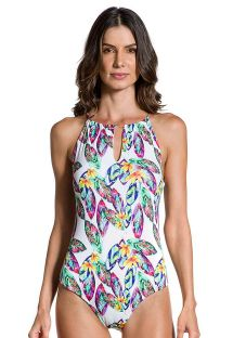 High-neck one-piece swimsuit with feather print - PRAIA DO PORTO