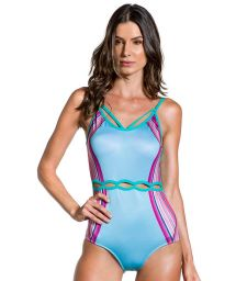 Blue and pink one-piece swimsuit with cutouts - PRAIA FORMOSA