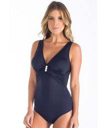 Black drape effect one-piece swimsuit with accessory - SIHU