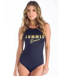 Black one-piece swimsuit, SUMMER DREAM in gold letters - SUMMER DREAM