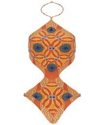 Fun orange-coloured printed trikini - BODY TAOARMINA