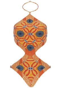 Fun orange-coloured printed trikini - BODY TAOARMINA